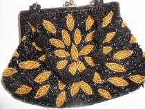 wedding photo - Vintage Black Gold Handbag, Beaded Evening Bag,  EB-0319
