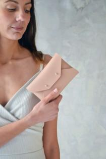 wedding photo - Nude leather mini clutch / Nude leather wallet / Beige envelope pouch / Bridesmaid gift / Mini leather clutch / Makeup bag