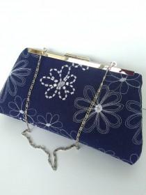 wedding photo - Navy linen purse, navy clutch purse, navy blue purse, navy floral purse, navy Beach Wedding purse, navy nautical  purse