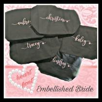 wedding photo - Heart Font, Bridesmaid Tote Bag Zippered, Maid of Honor Tote, Personalized Bridesmaid Bags, Bridal Party, Bridesmaid Gifts, Embroi
