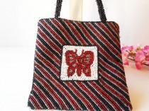 wedding photo - Vintage Beaded Evening Bag, Butterfly Design Handbag,  EB-0556