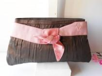 wedding photo - Vintage Brown Evening Bag Pink Trim, Glamorous Brown Clutch Handbag - EB-0767