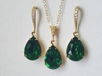 wedding photo - Dark Moss Green Crystal Jewelry Set, Swarovski Green Rhinestone Gold Set, Green Teardrop Bridesmaids Jewelry, Wedding Bridal Green Jewelry