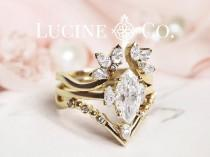 wedding photo - Marquise Moissanite Diamond Engagement Ring Set