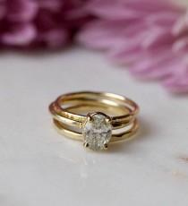 wedding photo - 1.25ct Oval Diamond Thin Band Engagement Ring Stacking Set 14k Hammered Gold