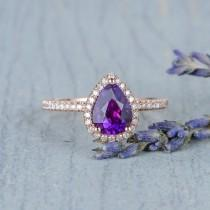 wedding photo - Pear Shaped Engagement Ring Rose Gold Amethyst Ring for Women February Birthstone Promise Diamond Halo Gift For Her Anniversary Gift Classic