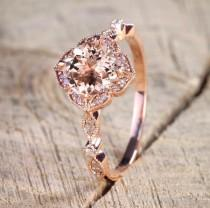 wedding photo - Authentic 1.50ct. Round Cut Morganite, Real Diamond Engagement Ring for Women 14k Rose Gold, Gift For Mother,Girlfriend,Promise Ring,Sister