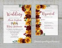 wedding photo - Rustic Sunflower Wedding Invitation,Sunflowers,Burgundy Roses,Greenery,White Barn Wood,Shabby Chic,Printed Invitation,Wedding Set