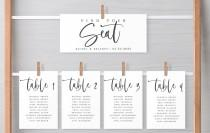 wedding photo - Wedding Seating Chart Template, Wedding Table Numbers Chart Template, Editable Template, Modern Table Numbers Card, Edit Yourself, 450