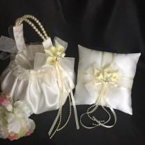 wedding photo - Calla lily Ring bearer pillow, wedding flower girl basket, ivory flower girl basket, calla Lilly flower girl basket, wedding ring pillow