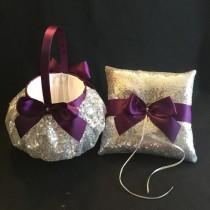 wedding photo - silver flower girl basket wedding, plum flower girl basket, wedding flower girl bag, wedding sequin flower girl basket, custom ribbon colors