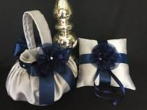 wedding photo - Silver and navy blue flower girl basket, silver ring bearer pillow, silver wedding flower girl basket, navy blue flower girl basket