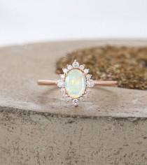 wedding photo - Vintage Natural Opal Engagement Ring art deco Rose Gold ring , Antique Oval cut Bridal ring, Diamond Prong set Ring, Anniversary ring