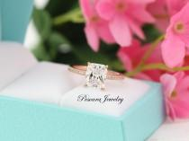 wedding photo - 3.1ctw Rose Gold Engagement Ring, Radiant Cut Engagement Ring, Solitaire Ring, Wedding Ring, Promise Ring, Sterling Sivler