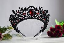 wedding photo - Black and red wedding crown,  Gothic wedding crown, Black crystal bridal tiara, Red wedding crown, Wedding crown Gothic earrings Black crown