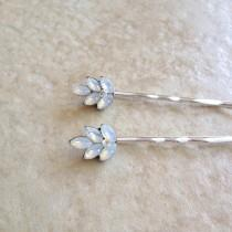 wedding photo - Vintage white opal glass rhinestone leaf bobby pins, silver, bridal, something old, rustic wedding, bridesmaid gift, vintage wedding, white