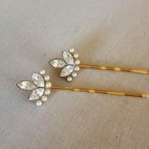 wedding photo - Swarovski Crystal and faux pearl hair pins, rhinestone, gold, set, gift, hair, accessory, rustic, wedding, rhinestone, bridesmaid, vintage
