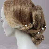 wedding photo - Large Pearl Hair Pins Set of 3, 5 or 7 Statement Pearl Bridal Hair Accessory for Bride or Bridesmaid, Mixed Pearl Sizes to wear Side or Back