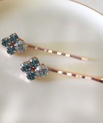 wedding photo - Dusty blue, Steel blue, Swarovski crystal bobby pins, bridal, something blue, rhinestone hair pins, hair jewelry, blue