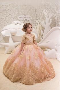 wedding photo - Blush Pink and Gold Flower Girl Dress - Birthday Wedding Party Holiday Bridesmaid Flower Girl Blush Pink and Gold Tulle Lace Dress 21-061