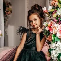 wedding photo - Black flower girl dress, Black girl dress, Black tulle flower girl dress, Toddler black dress, Feather flower girl dress, Black satin dress