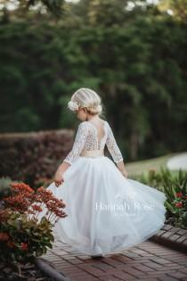 wedding photo - Beautiful White or Ivory Flower Girl Dress, Long Flowing Flower Girl Gowns, Boho Vintage Country Style Flower Girl Dresses, Tulle and Lace