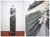 wedding photo - Neiman Marcus Crystal Beaded Gown  // Gray & White Fringe Beaded Vintage Glamour Gala Formal Dress