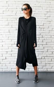 wedding photo - Black Maxi Dress/Loose Draped Dress/Long Sleeve Maxi Dress/Thumb Hole Sleeve Dress/Asymmetric Black Dress/Plus Size Black Dress METD0007