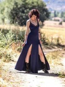 wedding photo - Strap maxi long dress. Dark blue boho long dress. Gothic long dress. Festival maxi dress. Maxi blue dress. V neck long dress, Wedding