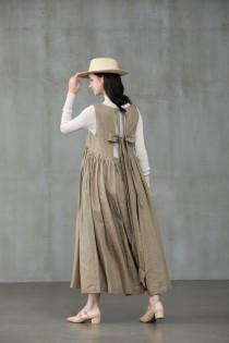 wedding photo - apron linen dress, pleated linen dress, bow linen dress, linen midi dress
