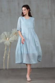 wedding photo - Pastel blue linen dress, midi dress, pleated dress, tunic dress, plus size dress