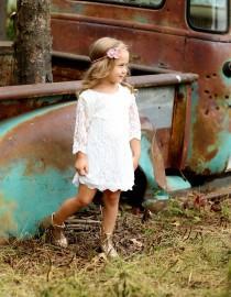 wedding photo - Simply Grace Lace Flower Girl Dress Rustic Flower Girl