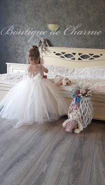 wedding photo - Baby wedding dress, White lace flower girl dress, Toddler formal dress, Communion dress, Flower girl dress train,Tulle girl dress,Tutu dress