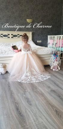 wedding photo - Lace flower girl dress,Tulle girl dress,Wedding girl dress,Junior bridesmaid dress,Communion dress,Sleeve flower girl dress,White girl dress