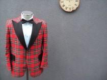 wedding photo - 1970s Vintage Tartan Plaid Tuxedo Jacket / 70s Vintage Stewart Tartan Tuxedo Size 38R Medium Med M / Wedding Tuxedo / Union Made in Canada