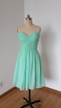 wedding photo - 2015 Popular Sweetheart Mint Chiffon Short Bridesmaid Dress