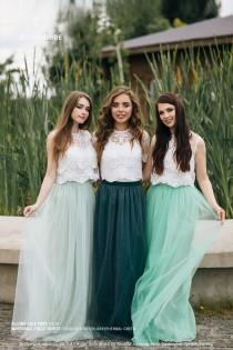 wedding photo - Boho Green Grey Palette Bridesmaid Separates 2020: Pistachio/Green Grey/Herbal Green Waterfall Tulle Skirt and Allure Lace Tops Plus Size