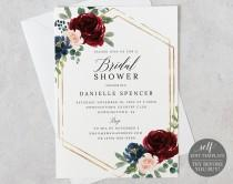 wedding photo - Bridal Shower Invitation Template, Templett Printable, Editable Instant Download, Burgundy Navy