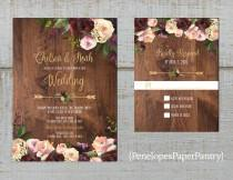 wedding photo - Rustic Floral Fall Wedding Invitation,Burgundy,Blush,Pink,Roses,Greenery,Floral Arrow,Barn Wood,Gold Print,Shimmery,Printed Invitation