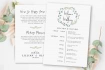wedding photo - Greenery Wedding Program Template, Printable Wedding Itinerary, Wedding Timeline Template, 100% Editable Wedding Template, Itinerary Card