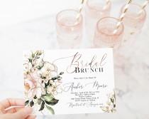 wedding photo - Pink Floral Bridal Brunch Invitation Template, Blush Bridal Shower, Rose Gold Greenery, Garden Shower , Editable Template, Corjl, WP382