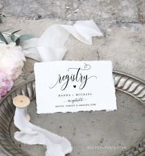 wedding photo - Registry Card Template, Bridal Shower Registry Insert, Wedding Registry, 100% Editable, Printable Enclosure Card, INSTANT DOWNLOAD 008-127EC