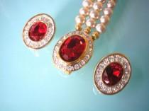 wedding photo - Pearl and Ruby Bridal Set, Pearl Choker, SPHINX, Wedding Pearl Necklace, Bridal Necklace, Gatsby, Art Deco, Pearl And Rhinestone, Downton