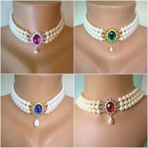wedding photo - Swarovski Pearl Choker, Indian Choker Necklace, Downton Abbey, Custom Necklace, Pearl Bridal Necklace, Emerald, Opal, Sapphire, Ruby