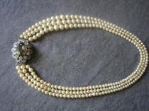 wedding photo - Vintage Pearl Choker With Side Clasp, Vintage Pearl Necklace, Vintage Bridal Pearls, Black Diamond Jewellery, Wedding Pearls, Smoky Topaz