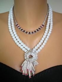 wedding photo - Pearl And Ruby Necklace, Layered Necklace, Indian Bridal Necklace, Downton Abbey Jewelry, Deco Style, Assemblage Jewelry, Upcycled Vintage