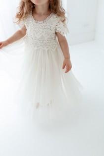 wedding photo - Bohemian Ivory Flower Girl Dress, Rustic Tulle Wedding Dress, Will You Be My Flower Girl Proposal, Boho Dresses