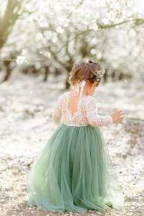 wedding photo - Full Length Sage Green Tulle Lace Top Scalloped Edges Back Party Flower Girl Dress