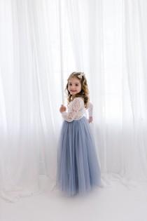 wedding photo - White Lace Flower Girl Dress, Gray Tulle Long Sleeve Wedding dress, Dusty Blue Ball Gown, Floor Length, Boho Chic Beach, Smoke Steel Blue