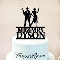 wedding photo - Bonnie and Clyde Cake Topper,Gun wedding Cake Topper,Gatsby Cake Topper,Gatsby Wedding Cake Topper,Mobsters or Shooters Cake Topper 1261